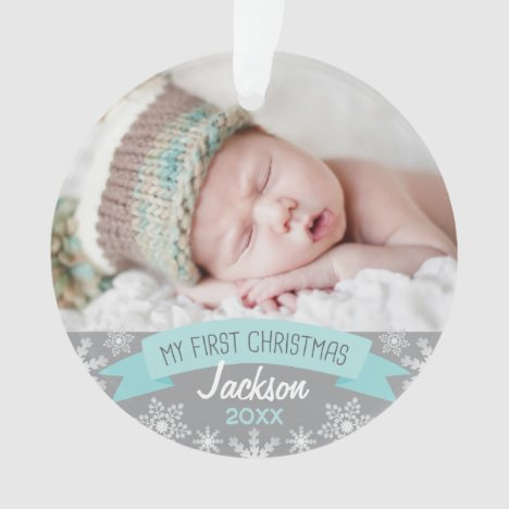 First Christmas Aqua Blue Baby Boy Photo Ornament