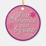 First Christmas as a Big Sister Double-Sided Ceramic Round Christmas Ornament