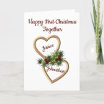 """First Christmas as a Couple, Evergreens Hearts Holiday Card<br><div class=""""desc"""">This Christmas card is to wish a new couple a Happy Christmas. It is suitable for any couple that is celebrating Christmas together for the first time. You can change the text to any you want, including the names in the hearts. The design on the front has two entwined gold...</div>"""