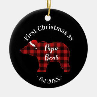 First Christmas as a Papa Bear Buffalo Plaid Ceramic Ornament