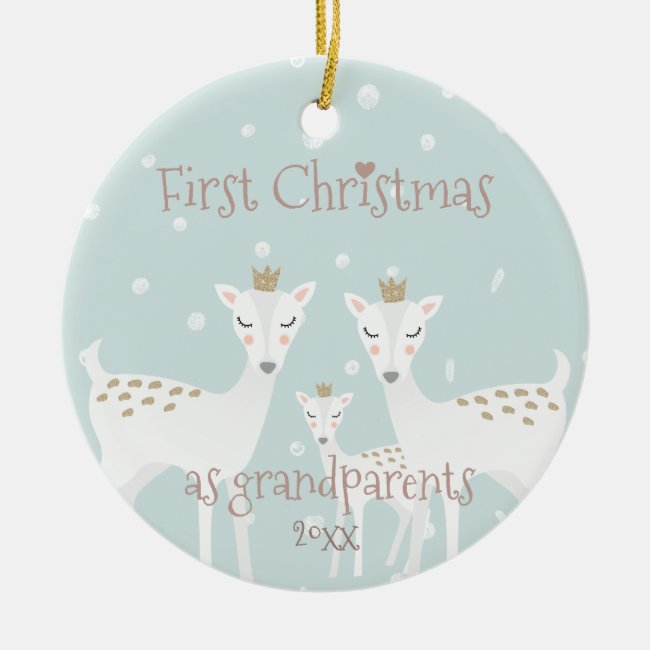 First Christmas as Grandparents - Cute Deer Blue
