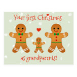 First Christmas as Grandparents - Gingerbread Men Postcard