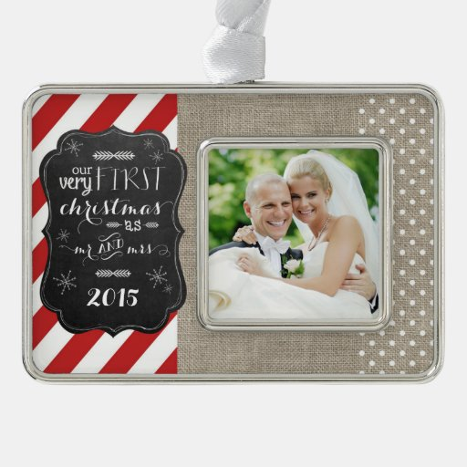 First Christmas as Mr and Mrs Chalkboard Ornament Silver Plated Framed Ornament