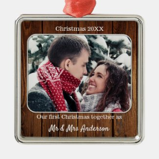 First Christmas as Mr and Mrs Holiday Photo Metal Ornament