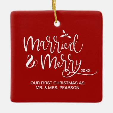 First Christmas as Mr.and Mrs Newlywed Photo Red Ceramic Ornament