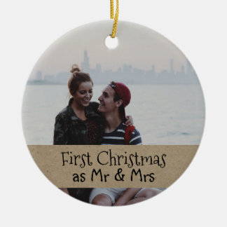First Christmas As Mr & Mrs Couple Photo Ceramic Ornament