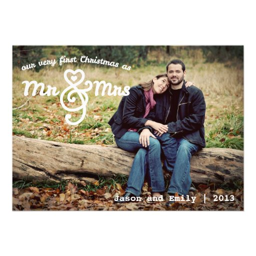 First Christmas as Mr & Mrs Holiday Photo Card