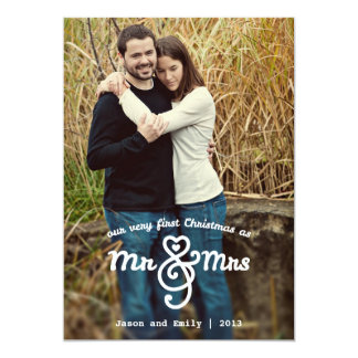 """First Christmas as Mr & Mrs Holiday Photo Card 5"""" X 7"""" Invitation Card"""