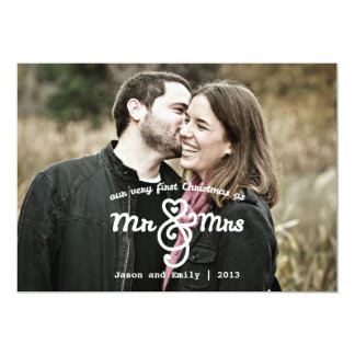 First Christmas as Mr & Mrs Holiday Photo Card Custom Invites