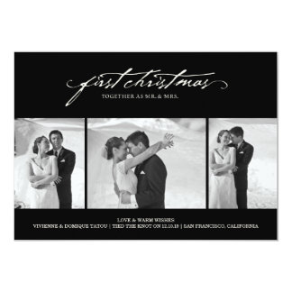 First Christmas As Mr. & Mrs. Holiday Photo Card Custom Announcement