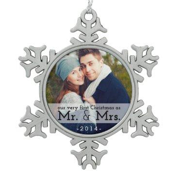 Christmas Themed First Christmas as Mr & Mrs Keepsake Ornament