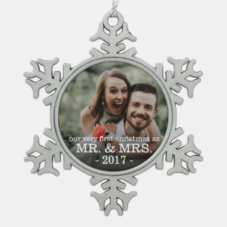 First Christmas as Mr & Mrs NEWLY WED Snowflake Pewter Christmas Ornament