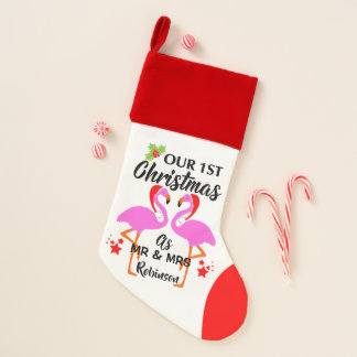 First Christmas As Mr & Mrs Personalized Flamingo Christmas Stocking