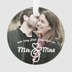 First Christmas As Mr. & Mrs. Photo Ornament at Zazzle