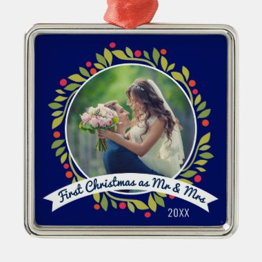 First Christmas as Mr & Mrs Photo   Wreath on Blue Metal Ornament