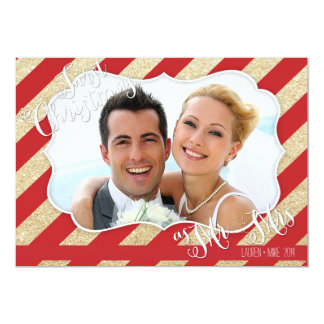 """First Christmas as Mr & Mrs Red and Gold Card 5"""" X 7"""" Invitation Card"""