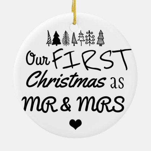 first christmas as mr mrs typography heart ceramic ornament zazzle