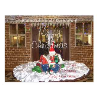 First Christmas away from home Inspired Art Design Postcard