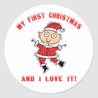 First Christmas Baby Classic Round Sticker
