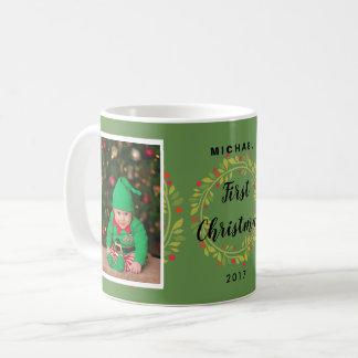 First christmas baby custom photo holiday wreath coffee mug