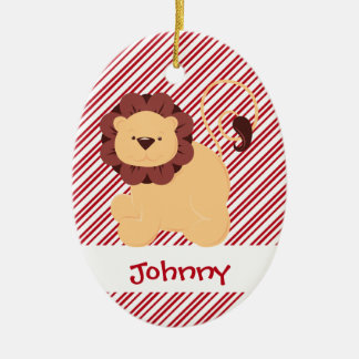 First Christmas Baby Lion Custom Double-Sided Oval Ceramic Christmas Ornament