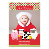 First Christmas Baby Photo Flat Card