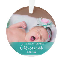 First Christmas Baby Photo | Green Watercolor Ornament