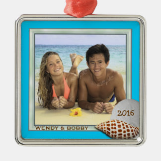 First Christmas Beach Themed Photo Ornament