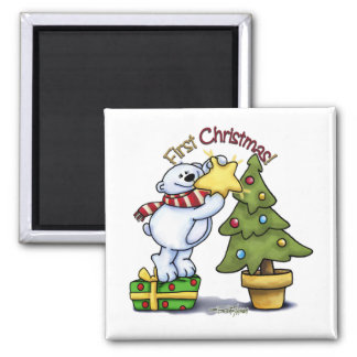First Christmas - Beary Cute 2 Inch Square Magnet