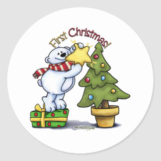 First Christmas - Beary Cute Classic Round Sticker