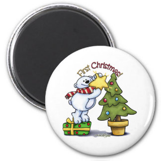 First Christmas - Beary Cute 2 Inch Round Magnet