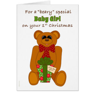 First Christmas Beary Special Baby Girl Greeting Cards