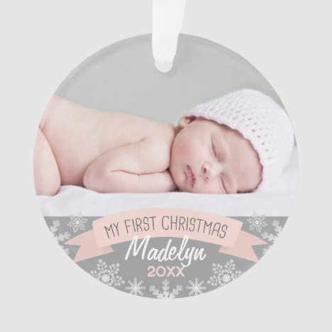 First Christmas Blush Pink Baby Girl Photo Ornament
