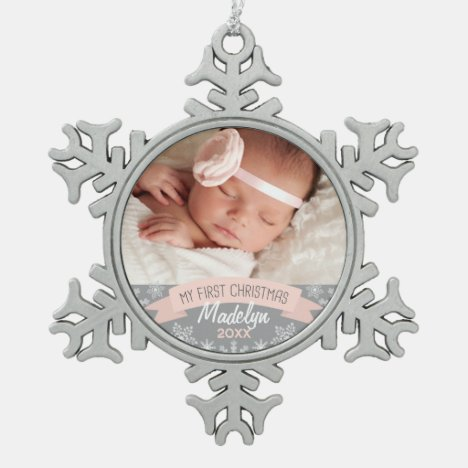 First Christmas Blush Pink Baby Girl Photo Snowflake Pewter Christmas Ornament