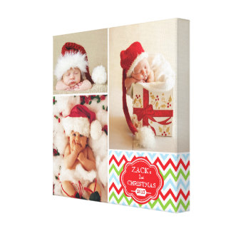 First Christmas Chevron Baby Photo Collage Canvas Print