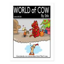 First Christmas cow Postcard