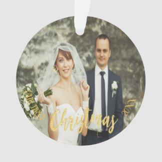 First Christmas custom wedding photo gold Ornament
