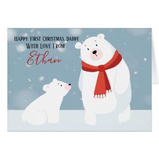 First Christmas Daddy Polar Bear Personalized Card