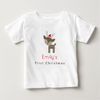 First Christmas Deer In A Red Santa Hat Custom Baby T-Shirt
