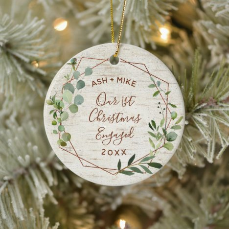 First Christmas Engaged Birch Eucalyptus Photo Ceramic Ornament