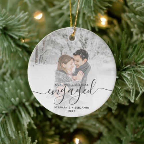 First Christmas Engaged Custom Photo Gray Script Ceramic Ornament