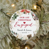 First Christmas Engaged Floral Wreath Photo Ceramic Ornament