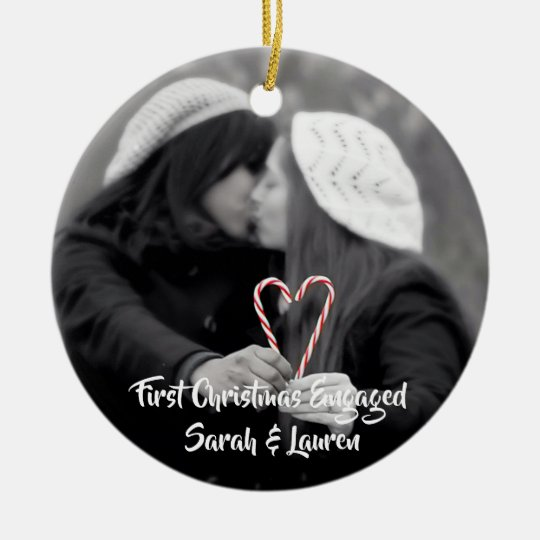 First Christmas Engaged | Lesbian Couple Ceramic Ornamentcom