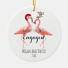 First Christmas Engaged Or Married Funny Flamingos Ceramic Ornament at Zazzle