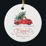 """First Christmas Engaged Pre Wedding Pine Tree Ceramic Ornament<br><div class=""""desc"""">This vintage inspired Christmas ornament features gorgeous watercolor illustration of a red truck carrying a pine tree. The text fields are fully editable except for the word """"Engaged"""". Simply remove this word by clicking the delete button and add your own text if you require a different word.</div>"""