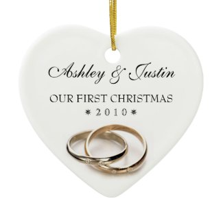 First Christmas Entwined Wedding Rings Ornament ornament
