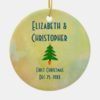 First Christmas Faded Yellow Watercolor Design Ceramic Ornament