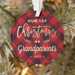 Red Plaid & Gold First Time Grandparents Custom Photo Ornament