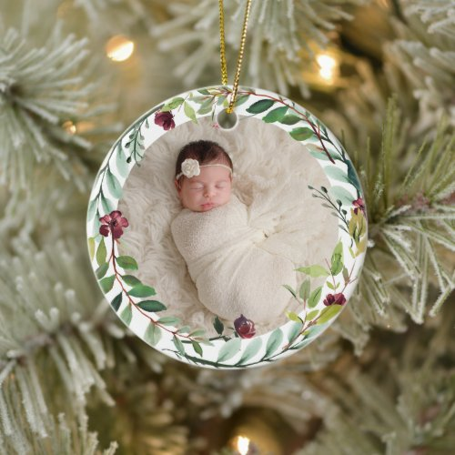 First Christmas Green Holiday Wreath Baby Photo Ceramic Ornament