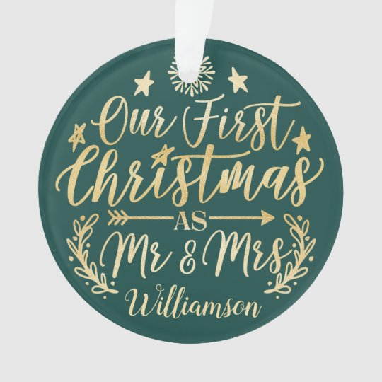 first christmas green mr mrs script newlyweds ornament zazzle com